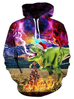 Loveternal Adult 3D Christmas Pullover Hoodies Dragon Graphi