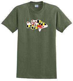 Bass Fishing Gift Maryland Home State Pride T-Shirt Large Ml