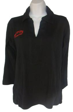 OXFORD BOSTON UNIVERSITY Black V-Neck Knit Top NWT Womens Si