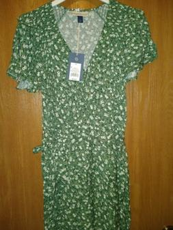 green floral dress s v neck wrap