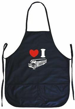 I Heart Love School Bus Logo Cooking Apron With Pockets