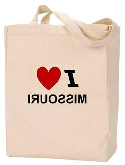 I LOVE MISSOURI - State Series - Natural Canvas Tote Bag wit