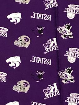"Kansas State University Wildcats Cotton Fabric 3/4 yd 42"" KS"