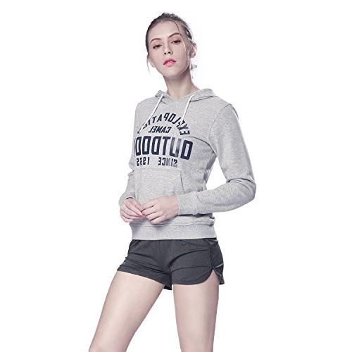 Camel Women's Tops Long-Sleeve Hoodie Pullover Casual Sport with