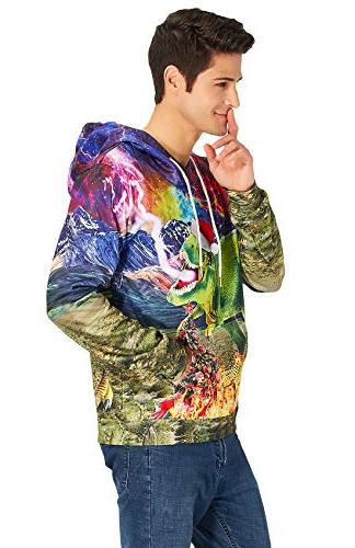 Loveternal Pullover Dragon Print Drawstring Sweatshirt for Women Men
