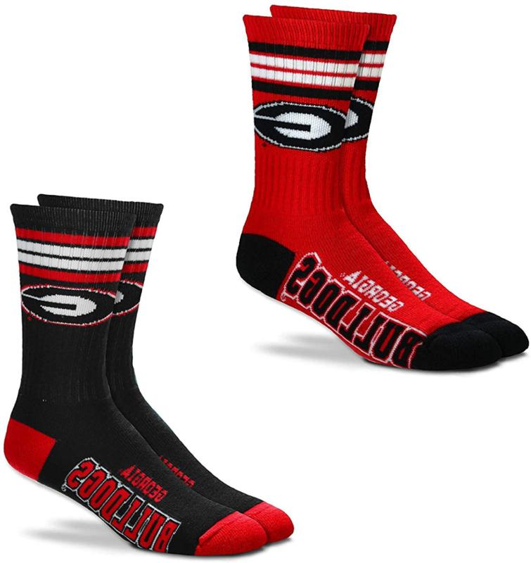 For Bare Feet Men'S Ncaa -4 Stripe Deuce Crew Socks-Size Lar