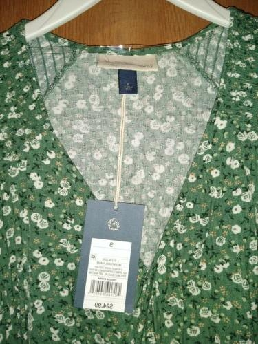 Green Floral V-Neck Wrap By Universal