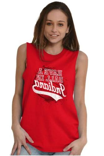 Have A Ball Indiana University State Sleeveless Shirts Tshirts