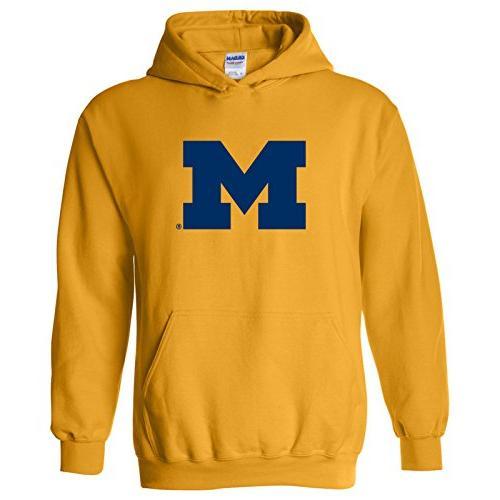 michigan wolverines primary logo hoodie medium gold
