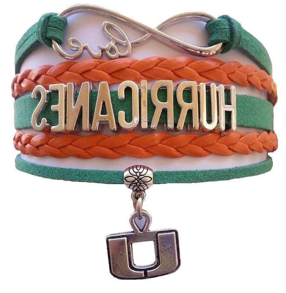 university of miami hurricanes college infinity bracelet