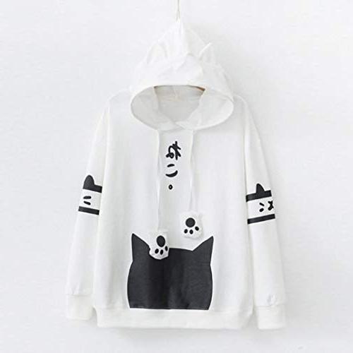Womens Japanese Kitty Print Pocket Long Sleeve Tops