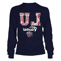 Liberty Flames Patterned Letters Blue Longsleeve Tee - Offic