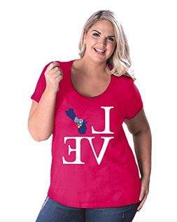 NIB Love Guam State Flag Traveler`s Gift Womens Curvy Plus S