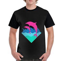 HenSLK Men Dolphin Novelty Casual Crew Neck Short Sleeve Rag