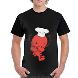Men Red Lobster Novelty Casual Crew Neck Short Sleeve Raglan