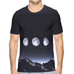 Men's Summer All Phases of The Moon Dark Sky Casual Novelty