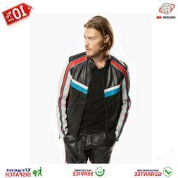 Mens Francy Leather Jacket In Racing Look Black And Racing R