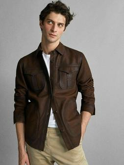 Mens Shirt Jacket Brown Real Soft Genuine Lambskin Washed Wa