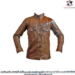 Mens Shirt Jacket Brown Real Soft Genuine Waxed Leather Shir