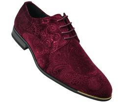 mens velvet paisley lace up dress shoes