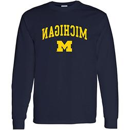 Michigan Wolverines Arch Logo Long Sleeve - Medium - Navy