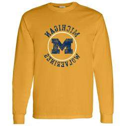 Michigan Wolverines Distressed Circle Logo Long Sleeve T-Shi
