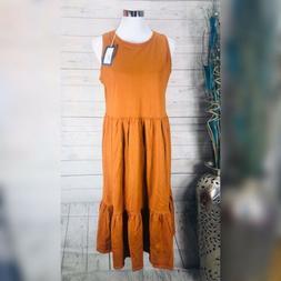 UNIVERSAL THREAD Midi BOHO Dress Brown Sleeveless  Sz M