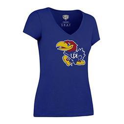 NCAA Kansas Jayhawks Women's Ots Rival VNeck Tee, Large, Roy
