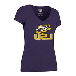 OTS NCAA LSU Tigers Women's Rival VNeck Tee, Medium, Purple
