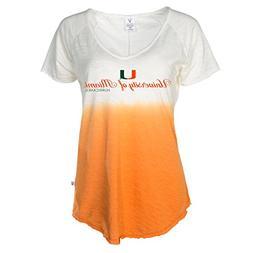 Official NCAA Miami Hurricanes Canes Women's Dip Dye Slub V-