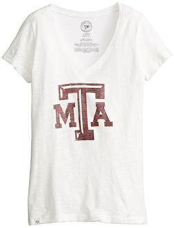 NCAA Texas A&M Aggies Women's '47 V-Neck Scrum Tee, White Wa