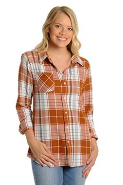 UG Apparel NCAA Texas Longhorns Women's Boyfriend Plaid Shir