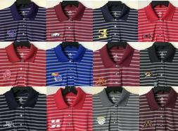 New College Men's Polo Dress Shirt Stripes Embroidered Logo
