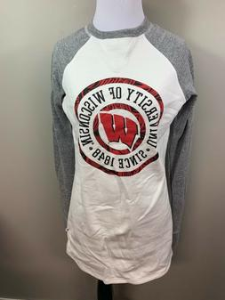 NEW NCAA University Of Wisconsin Badgers White Sweatshirt Dr