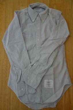 NWOT Thom Browne Blue University Stripe Oxford Cloth Cotton
