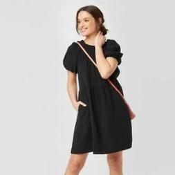 UNIVERSAL THREAD Smocked Gauze Pop Over Dress SZ XS Black Co