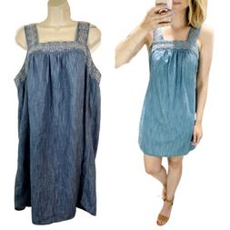 Universal Threads Square Neckline Chambray Dress Womens Size