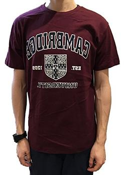 Official Cambridge University T-shirt - Crest - Burgundy- Of