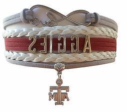 Texas A&M Aggies TAM College University Infinity Bracelet Je
