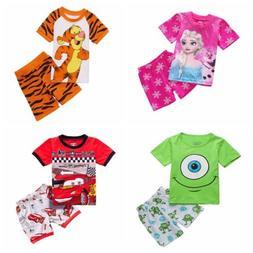 Toddler Boy Girl Short Sleeve T-shirt Sleepwear Pajama Outfi