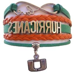 University of Miami Hurricanes College Infinity Bracelet Jew