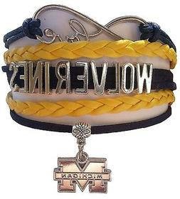 university of michigan wolverines college infinity bracelet