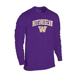 Elite Fan Shop Washington Huskies Long Sleeve Tshirt Arch Pu