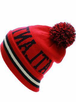 US Cities Winter Beanie Block Letters Cuff Knit Pom Pom Hat