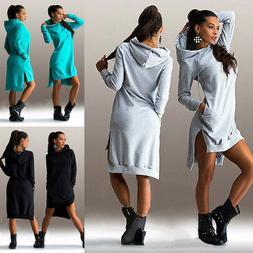 Women Casual Hooded Dress Hoodie Sweatshirt Split Side Jumpe