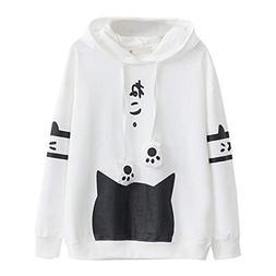 Womens Japanese Kawaii Style Kitty Cat Print Pocket Long Sle